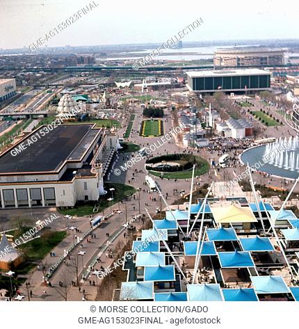 Panoramic aerial view facing north from the New York State Pavilion observation towers along the Avenue of The States, at the New York World's Fair in Flushing...