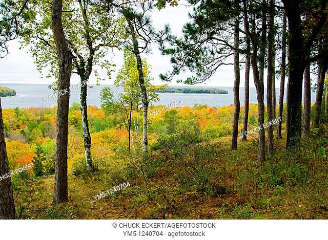 Autumn landscape and seascape in peninsula State Park, Door County, Wisconsin