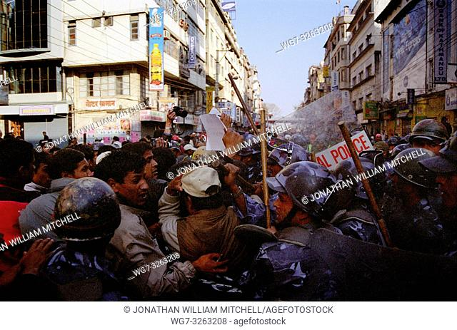 NEPAL Kathmandu -- 01 Feb 2006 -- Riot police clash with a crowd of protesters in New Road in central Kathmandu. Activists of the Seven Party Alliance (SPA)...