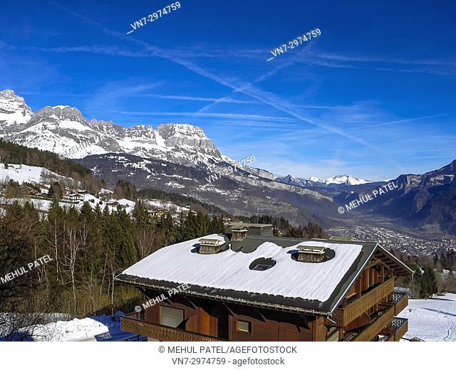 Chalet in Combloux, French Alps, Haute Savoie, France. Combloux is a mountain village and popular ski resort