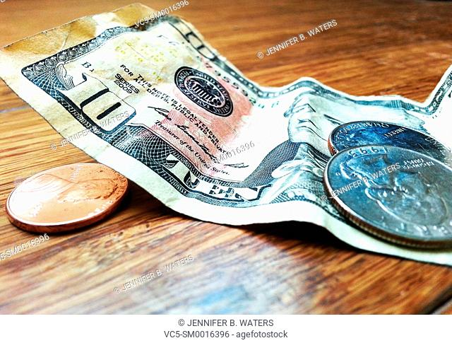 Close-up of American money on a wooden background
