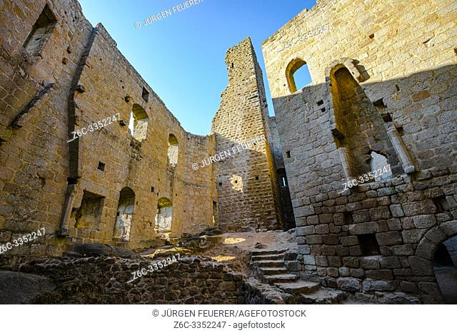 medieval castle Spesburg in the borough of the village Andlau, Alsace, France, Château de Spesbourg, inside view of the ruin