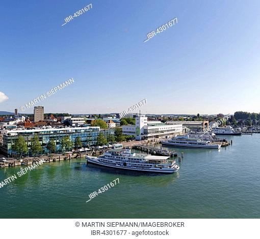 Media house and Zeppelin Museum at harbour, Friedrichshafen, Lake Constance, view from Moleturm, Upper Swabia, Bodensee Region, Baden-Württemberg, Germany