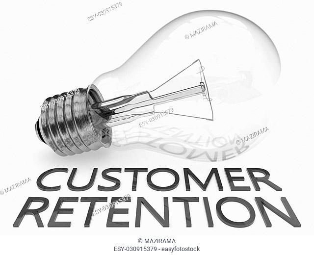 Customer Retention - lightbulb on white background with text under it. 3d render illustration