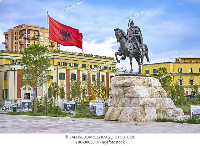 Albania, Tirana - statue of Skanderbeg, City Hall at the background, Skanderbeg Square