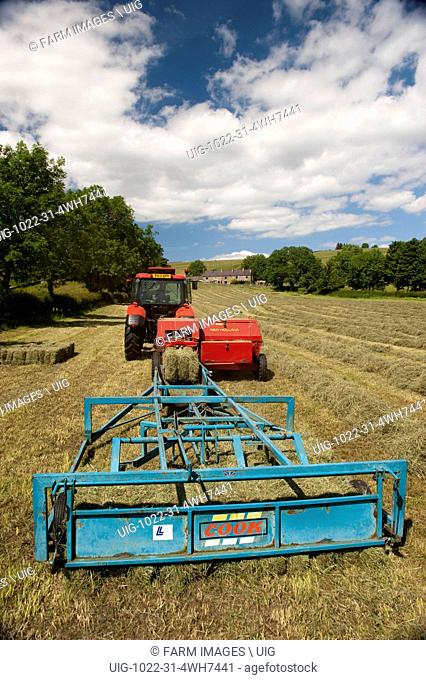 Haytime in Upper Teesdale with a Zetor Proxima 75 tractor and flat 8 bale system. (Photo by: Wayne Hutchinson/Farm Images/UIG)