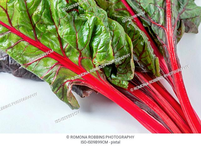 Bunch of red and green chard