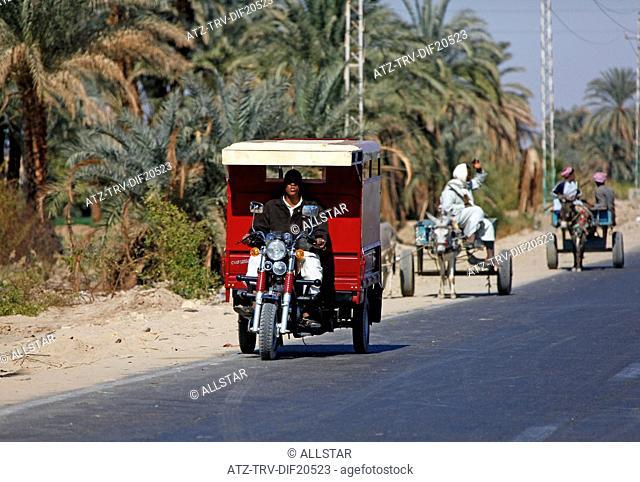 EGYPTIAN MOTOR TRICYCLE; NEAR ASWAN, EGYPT; 11/01/2013