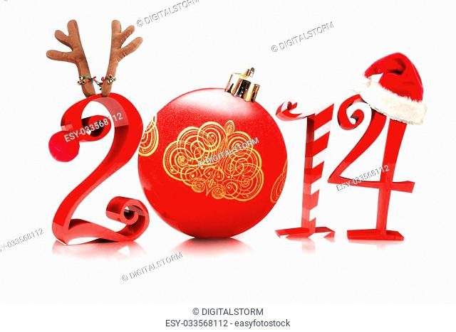 Christmas 2014, Illustration showcasing 2014 with a reindeer, tree ornament, candy cane, and a Santa hat on a white background
