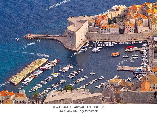 A view of Dubrovniks old port, Dubrovnik City, Dalmatian Coast, Croatia