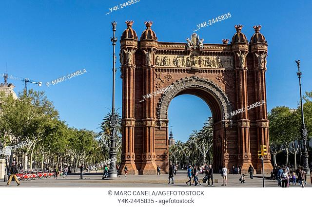 Europe, Spain, Barcelona, The Arc de Triomf is an arch in the manner of a memorial or triumphal arch in Barcelona Catalonia, Spain