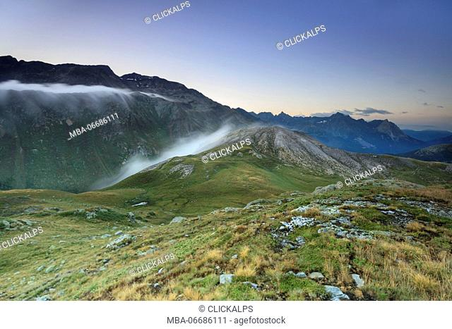 Low clouds at dawn Minor Valley Alta Valtellina Livigno Lombardy Italy Europe