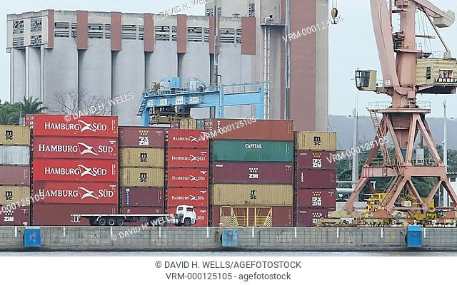 Cargo ship at the dock, Vitoria, Espirito Santo, Brazil