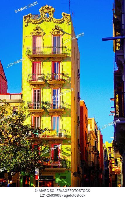 Buildings. Plaça del Sol, Gracia quarter, Barcelona, Catalonia, Spain