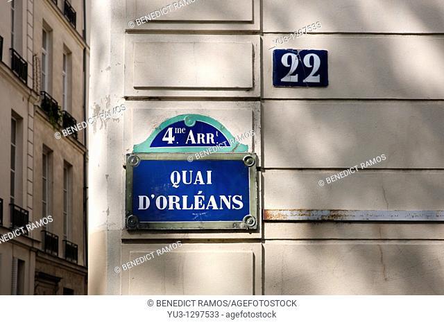 Quai d'Orleans sign, Paris, France