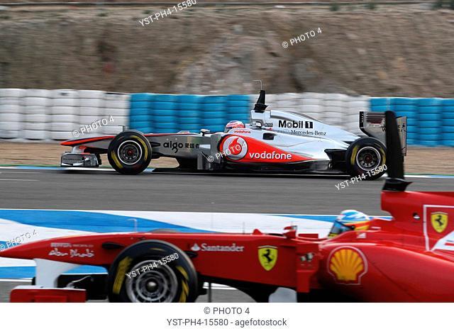 Jenson Button, Fernando Alonso, Testing, Jerez de la Frontera, Espanha