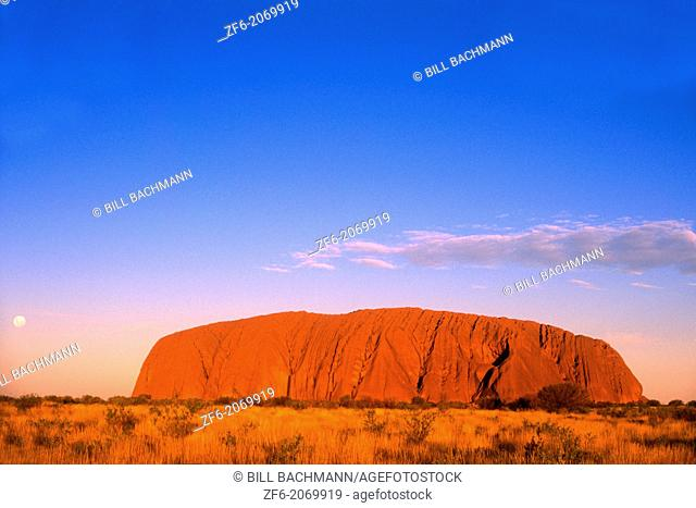 Red Glow of the Famous Ayers Rock in the Outback, Australia