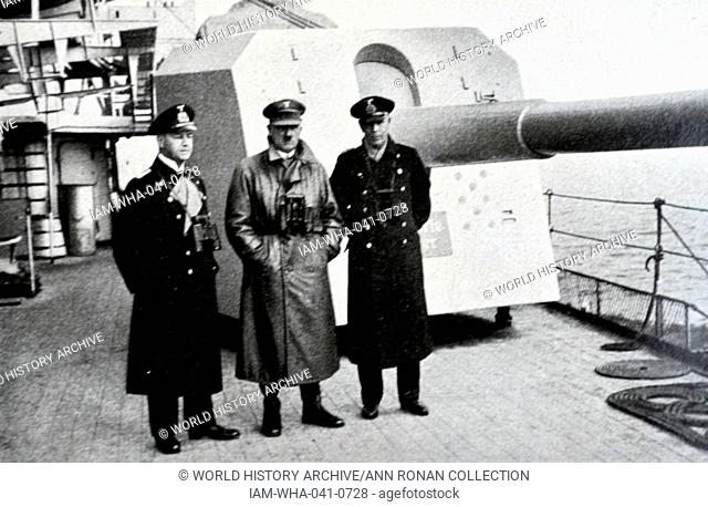 Hitler with navy officers on board a battle cruiser 1935