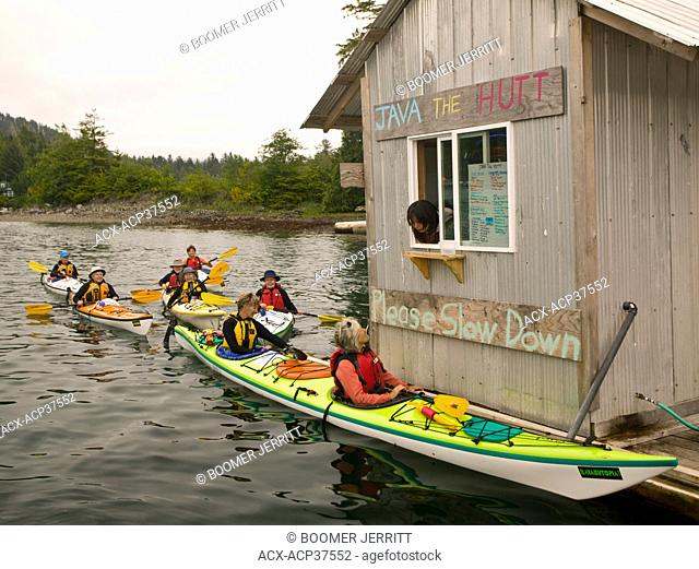 'Java The Hutt', a drive through floating coffee shop in the small native village of Kyuquot caters to Kayakers and recreational boaters alike