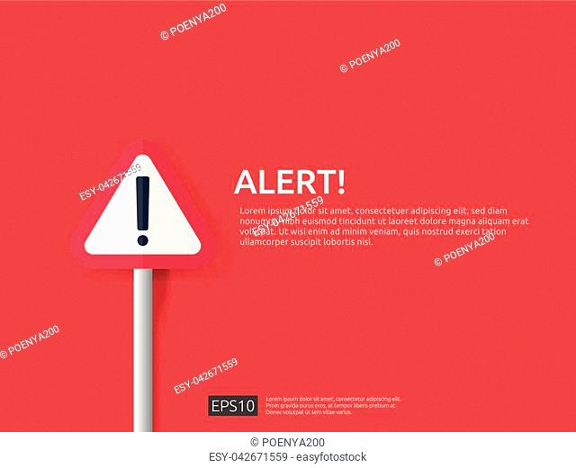 attention warning alert sign banner with exclamation mark symbol. concept for danger on Internet, technology, VPN Security protection