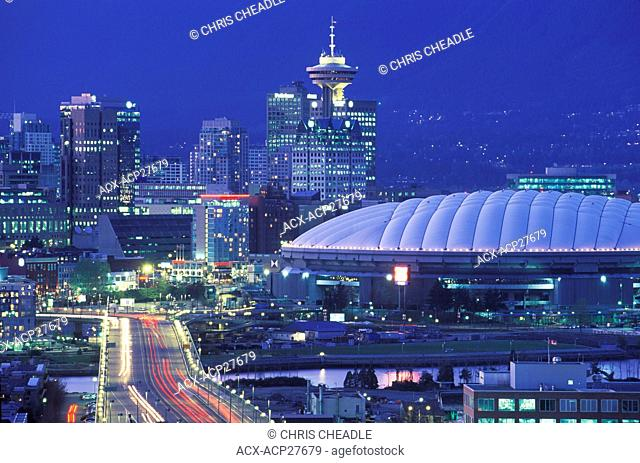 Canada, British Columbia, Vancouver, twilight view down Cambie Street to BC Place