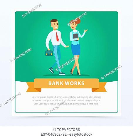 Clients and manager, bank works banner for advertising brochure, promotional leaflet poster, presentation flat vector element for website or mobile app with...