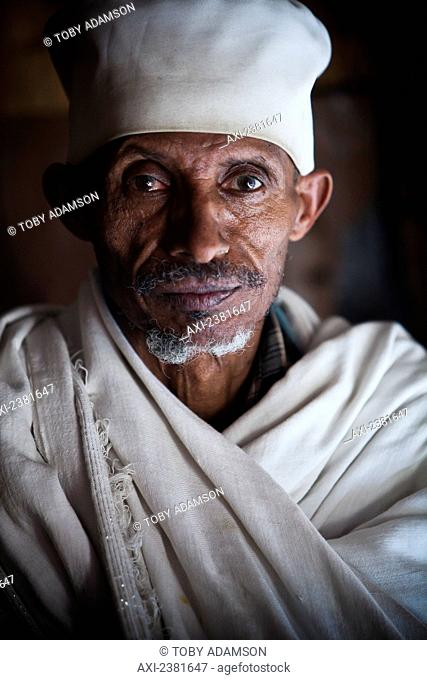 Portrait of a priest in Debre Berhan Selassie church; Gondar, Amhara region, Ethiopia