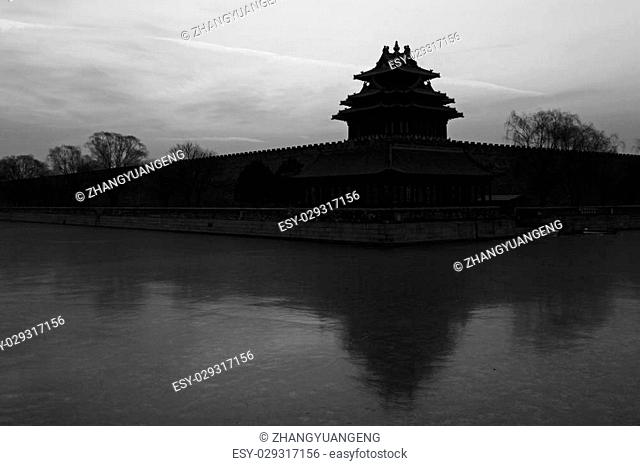 BEIJING - DECEMBER 22: The Northwest turrets of the Forbidden City on december 22, 2013, beijing, china