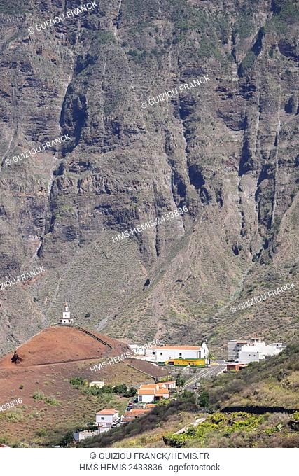 Spain, Canary Islands, El Hierro island declared a Biosphere Reserve by UNESCO, La Frontera, church of Nuestra Senora de la Candelaria on the Joapira volcanic...