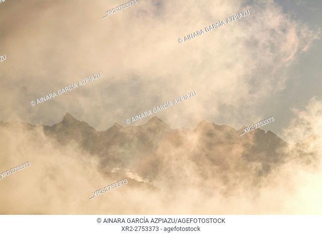 Misty sunrise in Irati, Navarre, Spain