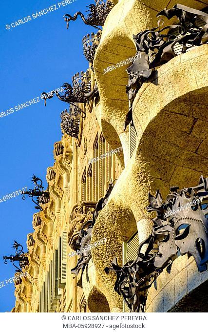 La Pedrera or Casa Mila of Antoni Gaudi in Barcelona, Catalonia, Spain