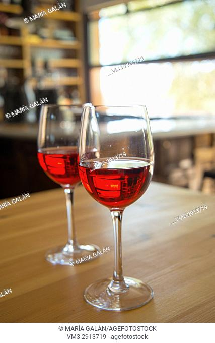 Two glasses of rose wine