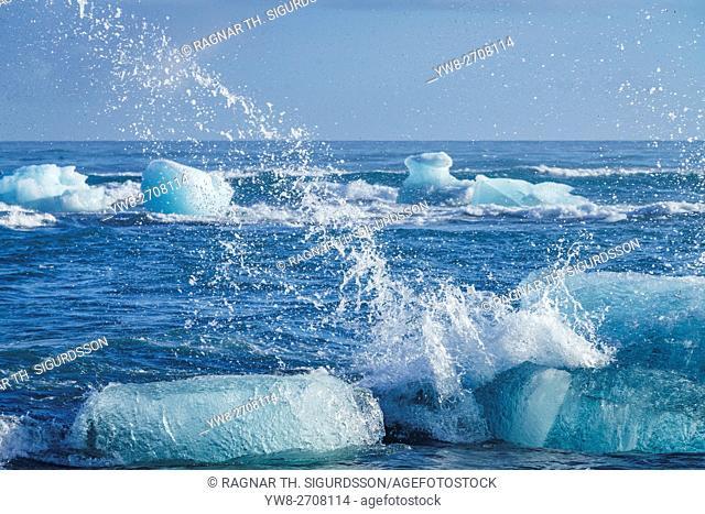 Iceberg formations on black sands, Breidamerkursandur, Iceland