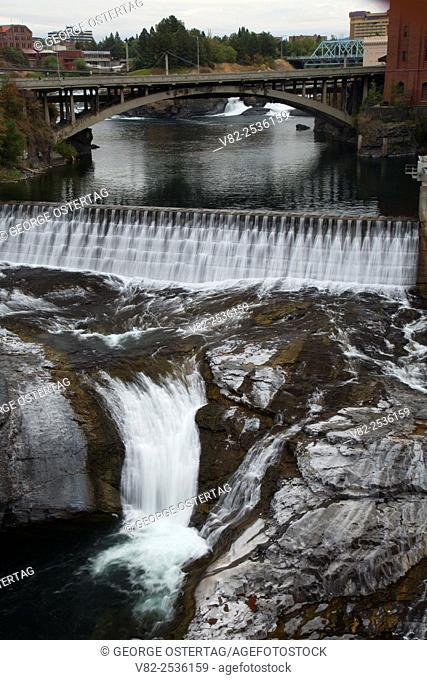 Lower Spokane Falls with Monroe Street Dam, Riverfront Park, Spokane, Washington