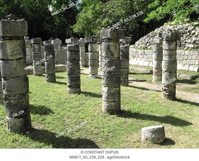 Old ruins of columns at a temple, Temple Of Warriors, Chichen Itza, Yucatan, Mexico