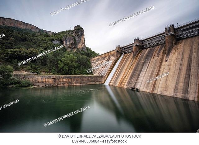 Dam of Ebro river in el Sobron lake, in Burgos, Spain