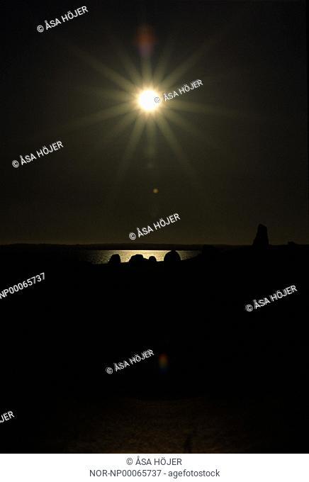 Sunlight over the Ale Stones in Skåne, Sweden