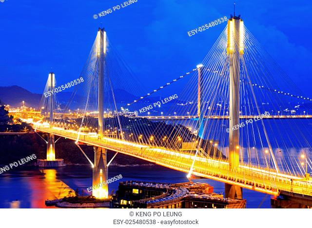 highway bridge at night with traces of light traffic, Ting Kau bridge at hong kong