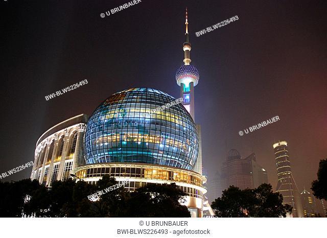 World Finance Center and Pearl Tower in Pudong at night, China, Jiangsu, Pudong, Shanghai