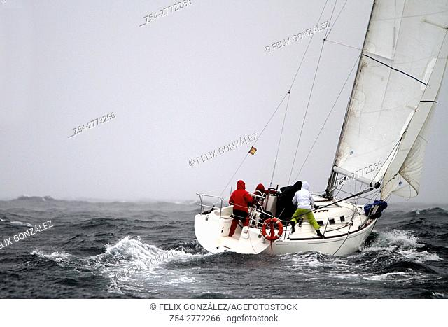 Sail boat at Storm, Bay Of Biscay, Spain