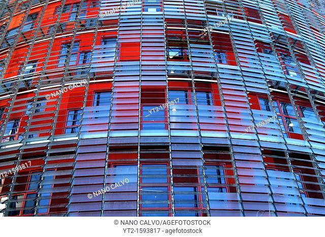 Torre Agbar or Agbar Tower, a 142 metre skyscraper designer by architect Jean Nouvel located in Glorias Square, Barcelona, Spain