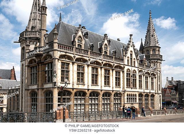 Heritage buildings along the Korenlei, Ghent, Belgium