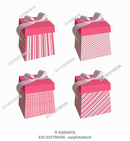 Pink gifts isolated on white