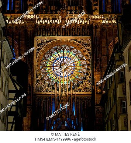 France, Bas Rhin, Strasbourg, old town listed as World Heritage by UNESCO, Notre Dame Cathedral, the western facade, summer light and sound show