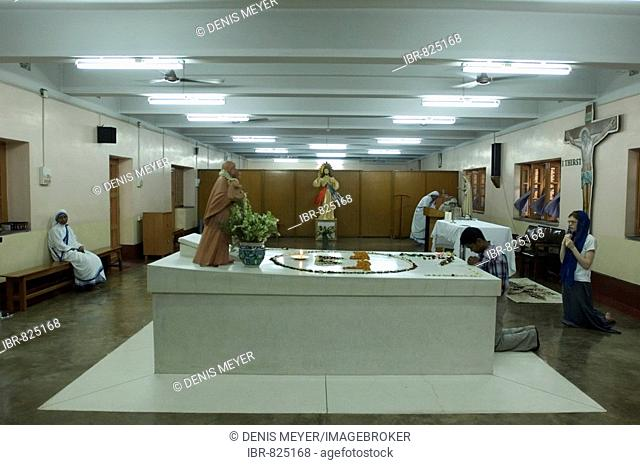The tomb of Mother Theresa in the mother house of the order frounded by her is always a magnet for Christians and volunteers from all over the world, Kolkata