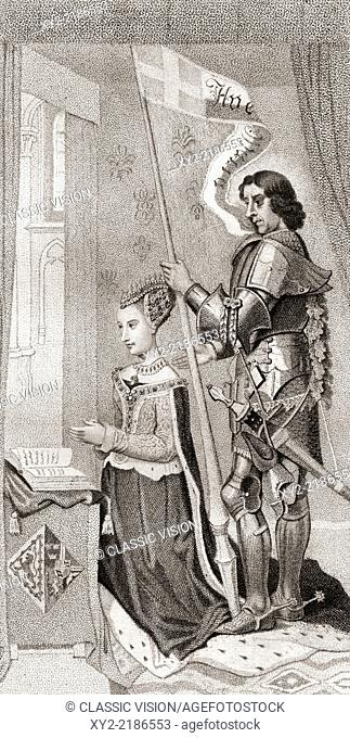 Margaret of Denmark with St. Canute, patron of Denmark, behind her holding a banner showing the cross of the crusades. Margaret of Denmark, 1456-1486