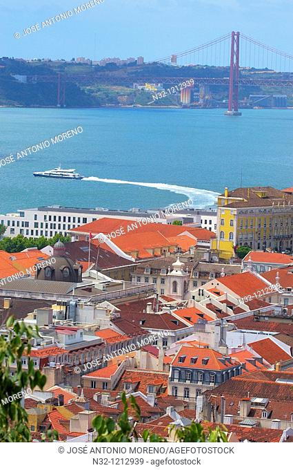 Lisbon, Tejo River and 25th Abril Bridge, View from St George's Castle, Portugal, Europe