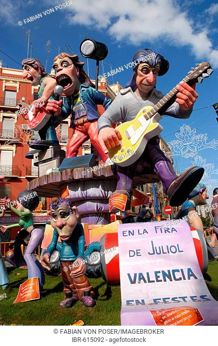 Colourful paper-maché figures (the Rolling Stones) at the Fallas festival, Valencia, Spain, Europe