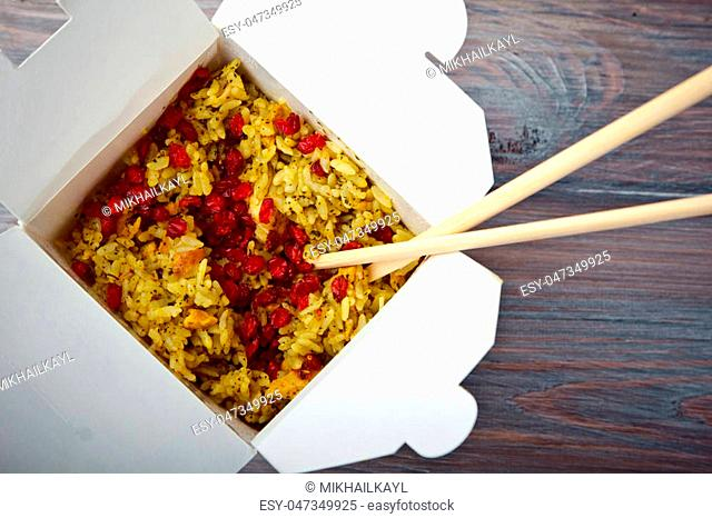 Rice in Indian style with chicken and spicy spices
