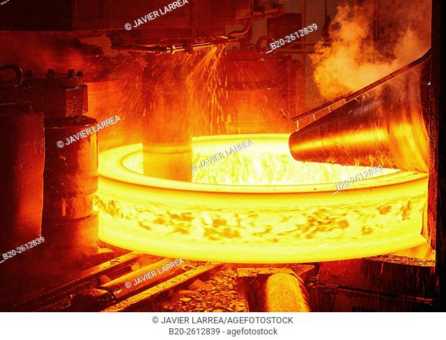 Steel rolling, Iron Industry, Gipuzkoa, Basque Country, Spain